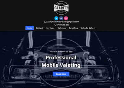 Screenshot of Clarity Valeting Website