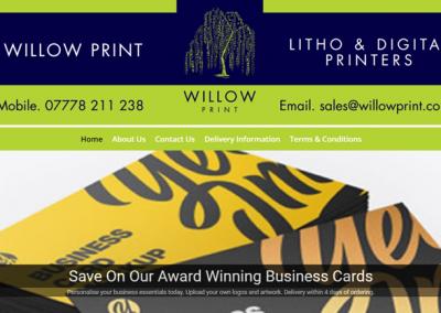 Screenshot of Willow Printhing Webste