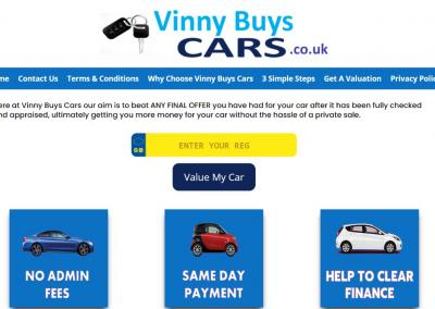 Screenshot of Vinny Buys Cars Website